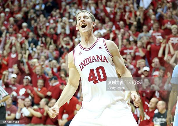 Cody Zeller of the Indiana Hoosiers celebrates during the game against the North Carolina Tar Heels at Assembly Hall on November 27, 2012 in...