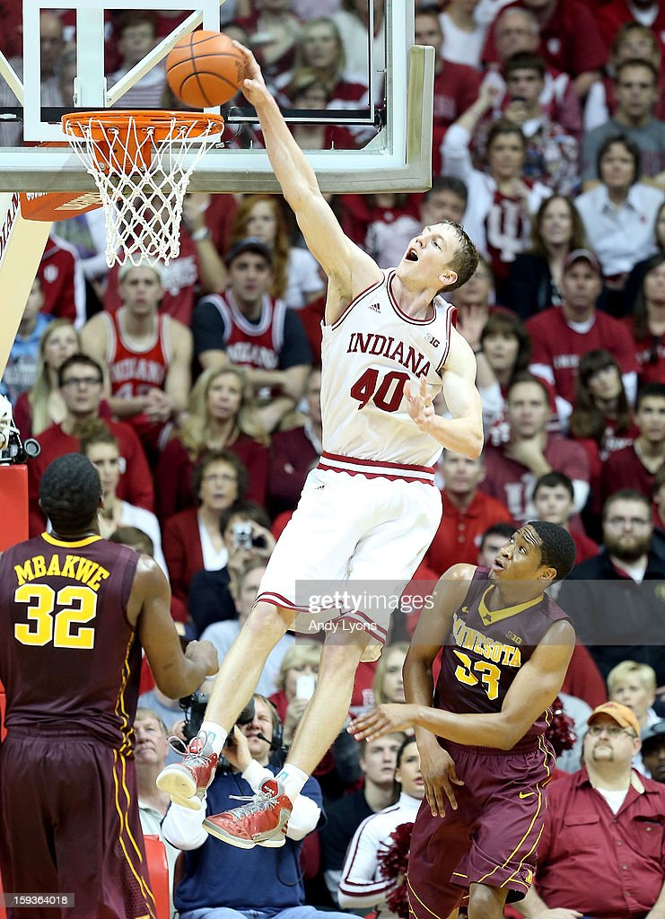 Cody Zeller #40 of the Indiana Hoosiers dunks the ball during the Big 10 game against the Minnesota Golden Gophers at Assembly Hall on January 12, 2013 in Bloomington, Indiana.