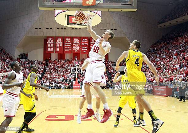 Cody Zeller of the Indiana Hoosiers dunks the ball during the game against the Michigan Wolverines at Assembly Hall on February 2 2013 in Bloomington...