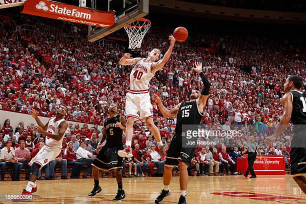 Cody Zeller of the Indiana Hoosiers goes for a rebound against the Bryant Bulldogs during the game at Assembly Hall on November 9 2012 in Bloomington...
