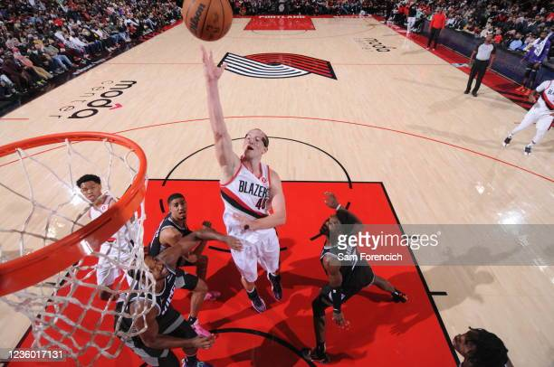 Cody Zeller of the Portland Trail Blazers shoots the ball during the game against the Sacramento Kings on October 20, 2021 at the Moda Center Arena...