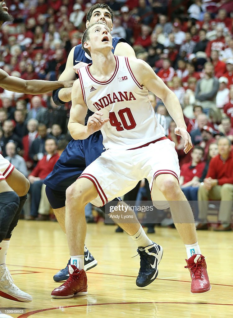 Cody Zeller #40 prepares to rebound the ball of the Indiana Hoosiers during the game against the Penn State Nittany Lions at Assembly Hall on January 23, 2013 in Bloomington, Indiana.