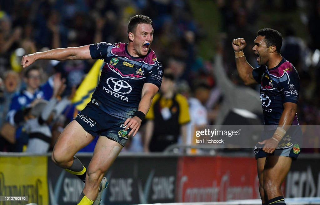 Coen Hess of the Cowboys celebrates after scoring a try during the round 22 NRL match between the North Queensland Cowboys and the Brisbane Broncos at 1300SMILES Stadium on August 9, 2018 in Townsville, Australia.