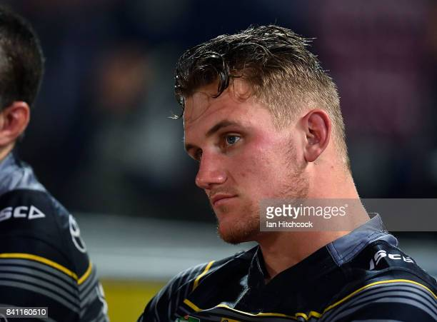 Coen Hess of the Cowboys looks dejected after losing the round 26 NRL match between the North Queensland Cowboys and the Brisbane Broncos at...