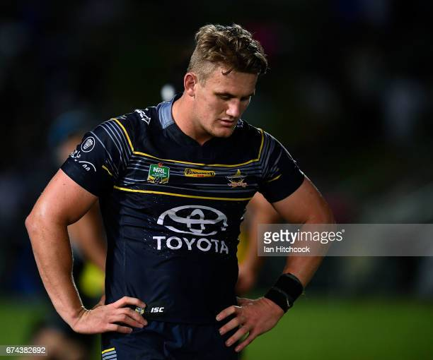 Coen Hess of the Cowboys looks dejected after losing the round nine NRL match between the North Queensland Cowboys and the Parramatta Eels at...