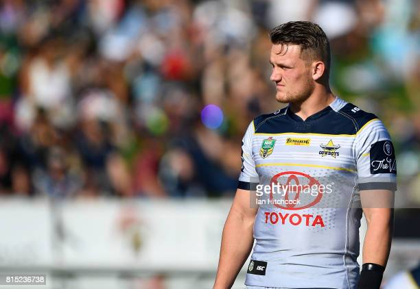 Coen Hess of the Cowboys looks on before the start of the round 19 NRL match between the South Sydney Rabbitohs and the North Queensland Cowboys at...