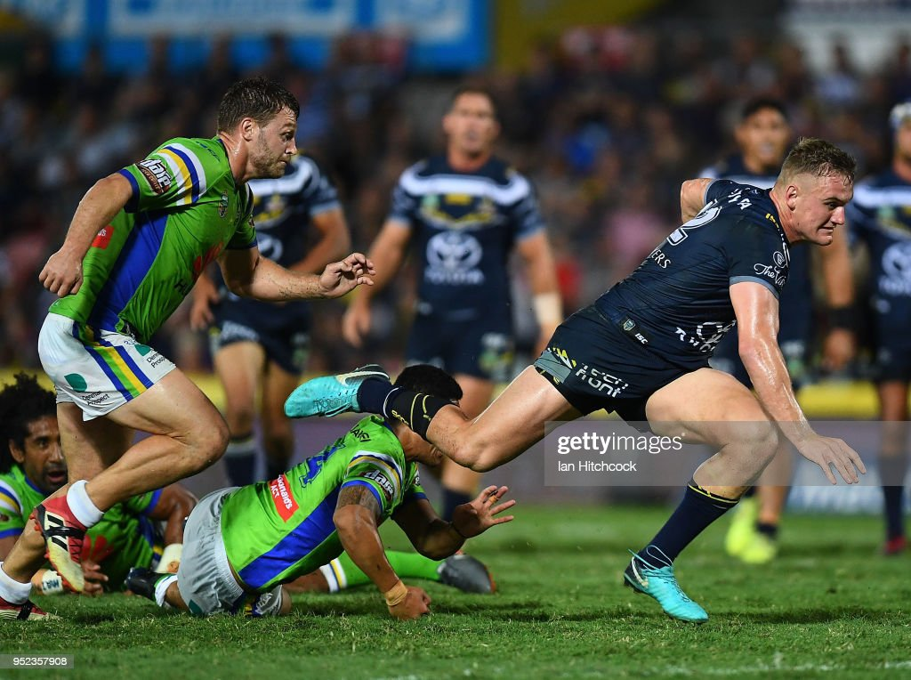 Coen Hess of the Cowboys makes a beak during the round eight NRL match between the North Queensland Cowboys and the Canberra Raiders at 1300SMILES Stadium on April 28, 2018 in Townsville, Australia.