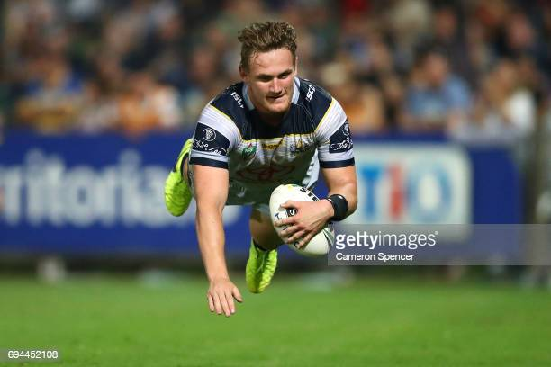 Coen Hess of the Cowboys scores a try during the round 14 NRL match between the Parramatta Eels and the North Queensland Cowboys at TIO Stadium on...
