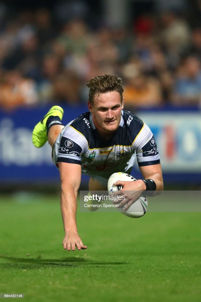 Coen Hess of the Cowboys scores a try during the round 14 NRL match between the Parramatta Eels and the North Queensland Cowboys at TIO Stadium on June 10, 2017 in Darwin, Australia.