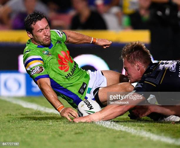 Coen Hess of the Cowboys scores a try during the round one NRL match between the North Queensland Cowboys and the Canberra Raiders at 1300SMILES...