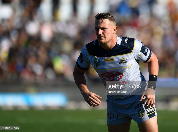 Coen Hess of the Cowboys warms up before the start of the round 19 NRL match between the South Sydney Rabbitohs and the North Queensland Cowboys at...
