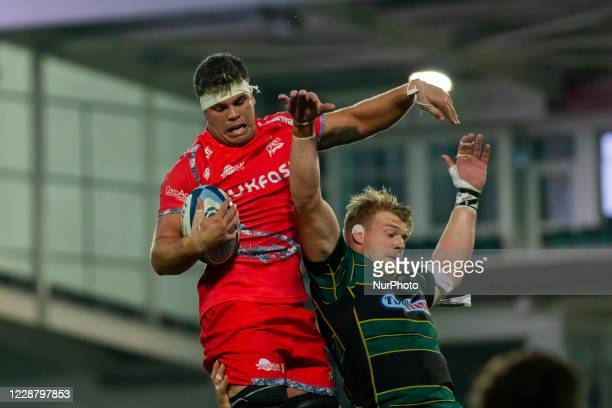Coenie Oosthuizen of Sale Sharks and David Ribbans of Northampton Saints during the Gallagher Premiership match between Northampton Saints and Sale...