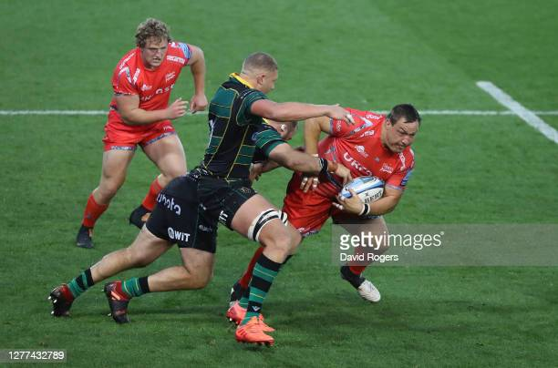Coenie Oosthuizen of Sale Sharks charges upfield during the Gallagher Premiership Rugby match between Northampton Saints and Sale Sharks at...