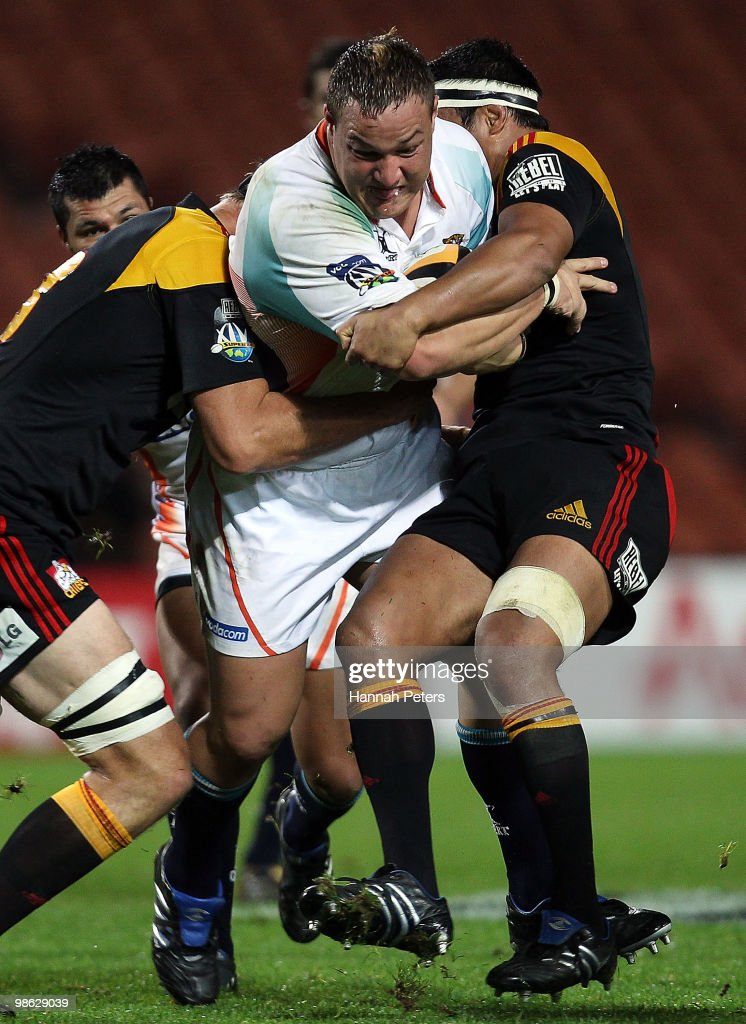 Coenie Ossthuizen of the Cheetahs charges forward during the round 11 Super 14 match between the Chiefs and the Cheetahs at Waikato Stadium on April 23, 2010 in Hamilton, New Zealand.