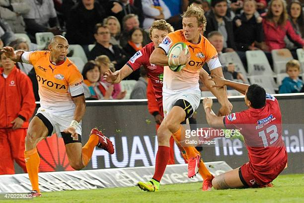 Coenie van Wyk and Cornal Hendricks of the Toyota Cheetahs in action during the Super Rugby match between Toyota Cheetahs and Reds at Free State...