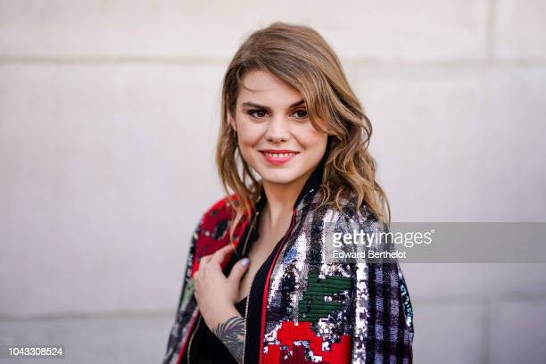 Coeur de Pirate is seen outside Elie Saab during Paris Fashion Week Womenswear Spring/Summer 2019 on September 29 2018 in Paris France