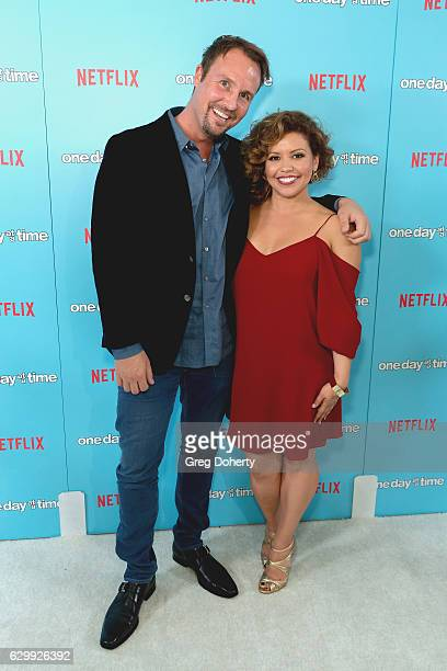 CoExecutive Producer Brent Miller and Actress Justina Machado arrive for the Premiere Of Netflix's One Day At A Time at The London West Hollywood at...