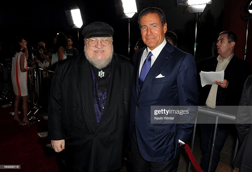 Co-Executive Producer George R. R. Martin (L) and CEO, HBO Richard Plepler arrive at the premiere of HBO's 'Game Of Thrones' Season 3 at TCL Chinese Theatre on March 18, 2013 in Hollywood, California.