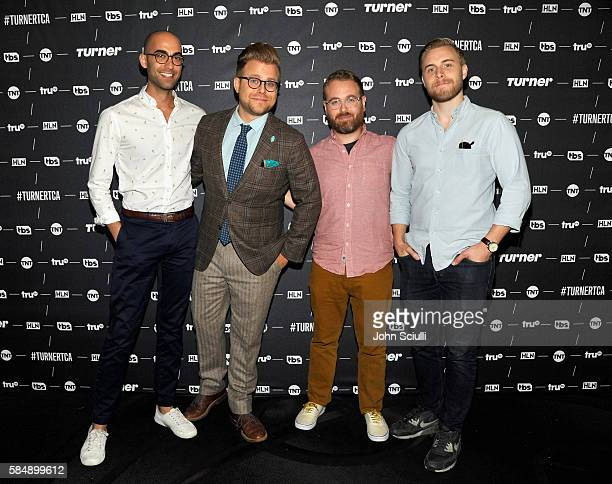 Coexecutive producer Jon Wolf Host/creator Adam Conover Executive producer Sam Reich and Head writer/Coexecutive producer Travis Helwig of 'Adam...