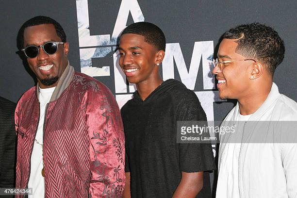 Coexecutive producer Sean 'Diddy' Combs Christian Combs and Justin Combs arrive at the Los Angeles Film Festival premiere of 'Dope' at Regal Cinemas...