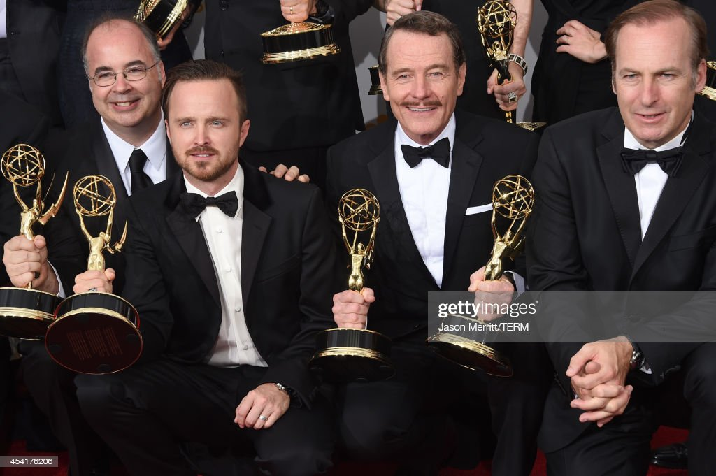 Co-Executive Producer Thomas Schnauz, actors Aaron Paul, Bryan Cranston, Bob Odenkirk, winners of Outstanding Drama Series Award, Outstanding Lead Actor in a Drama Series Award, Outstanding Supporting Actor in a Drama Series Award, and Outstanding Writing for a Drama Series for 'Breaking Bad', pose in the press room during the 66th Annual Primetime Emmy Awards held at Nokia Theatre L.A. Live on August 25, 2014 in Los Angeles, California.
