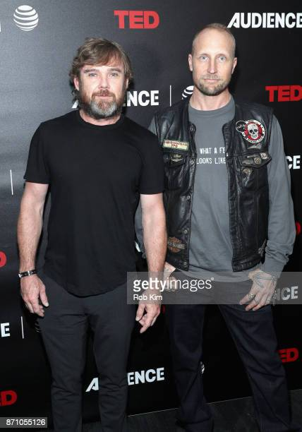Coexecutive producers Ricky Schroder and River Rainbow Hagg attend ATT AUDIENCE Network's The Volunteers premiere event on November 6 2017 in New...