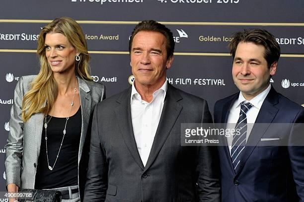 ZFF cofestival director Nadja Schildknecht actor Arnold Schwarzenegger and ZFF cofounder Karl Spoerri attend the 'Maggie' Premiere and Golden Icon...