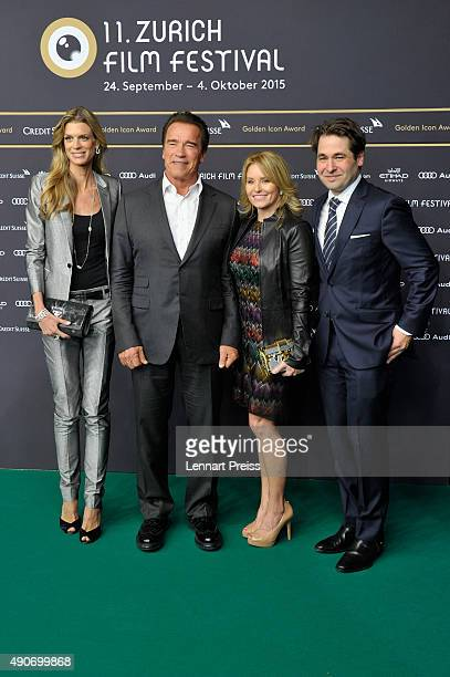 ZFF cofestival director Nadja Schildknecht actor Arnold Schwarzenegger Heather Milligan and ZFF cofounder Karl Spoerri attend the 'Maggie' Premiere...
