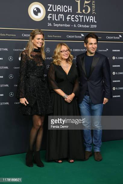 """Co-Festival director Nadja Schildknecht, Nicoletta Mantovani and ZFF Co-Festival director Karl Spoerri attend the """"Pavarotti"""" photo call during the..."""