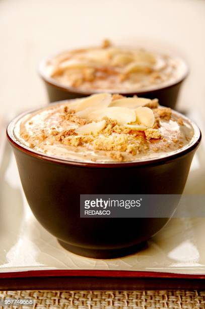 Coffe Cream with Almond and Amaretto Cookies Crumble Italy Europe