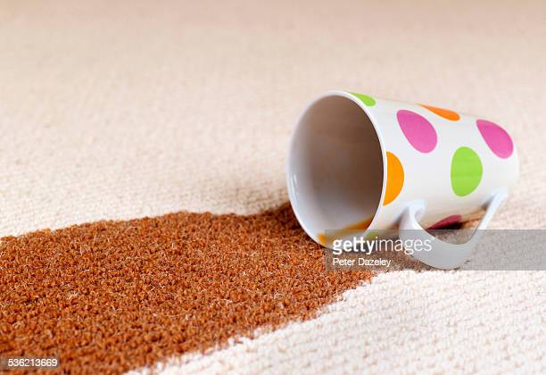 Coffee accident spill on carpet