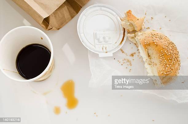 Coffee and bun, studio shot
