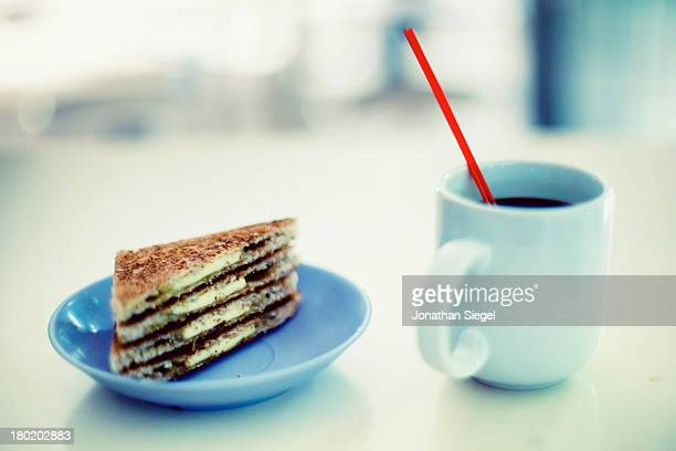 Coffee and buttered toast