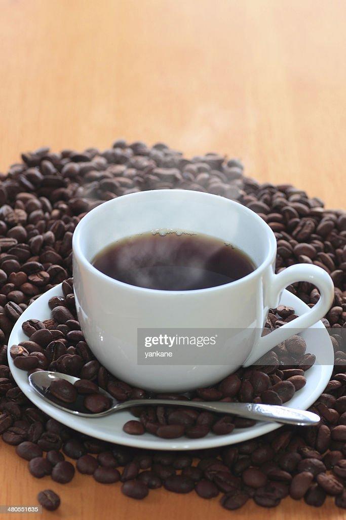 Café y granos de café : Foto de stock