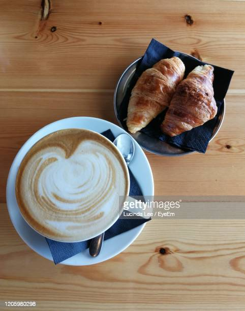 coffee and croissants - lucinda lee stock pictures, royalty-free photos & images