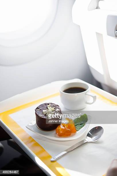 Coffee and dessert in airplane
