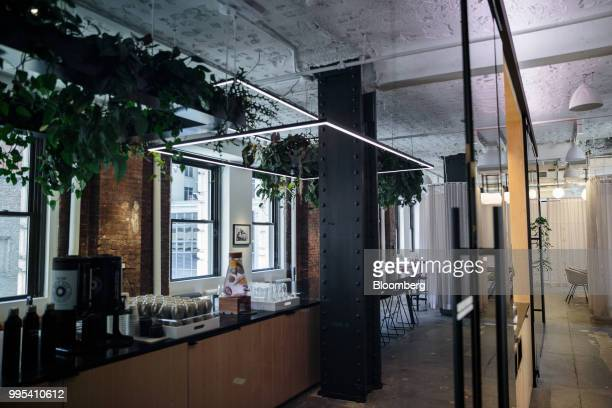 A coffee and drink station is seen at the Convene workspace flagship location in New York US on Monday July 2 2018 Convene a New Yorkbased real...