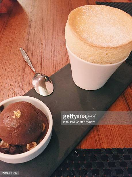 Coffee And Ice Cream Served On Table