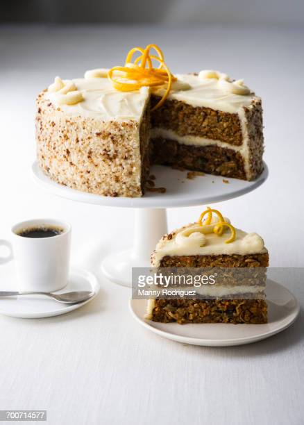 coffee and slice of cake - carrot cake stock pictures, royalty-free photos & images