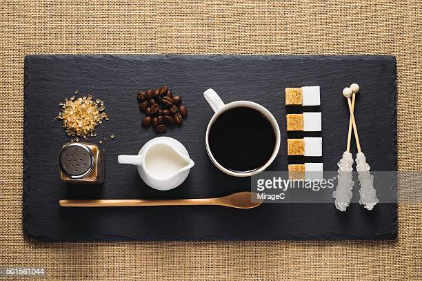 Coffee and Sugar and Cream on Rustic Stone Tray