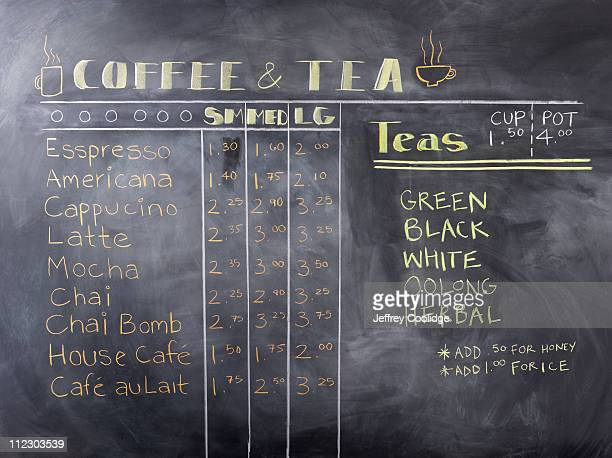 Coffee and Tea Menu on Blackboard