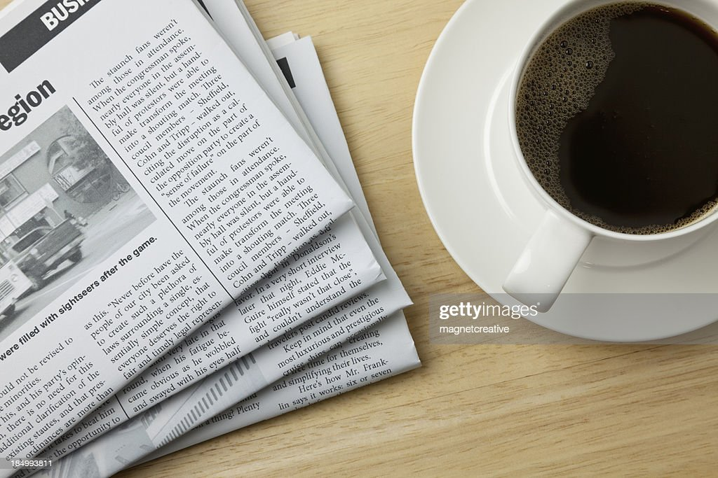 Coffee and the Morning Paper : Stock Photo
