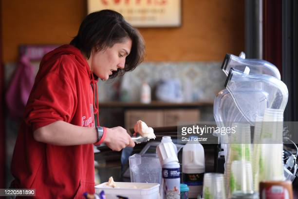 Coffee barista April makes a drink as Coffi Co offer their Click and Collect social distancing system to it's customers on April 23 2020 in Cardiff...