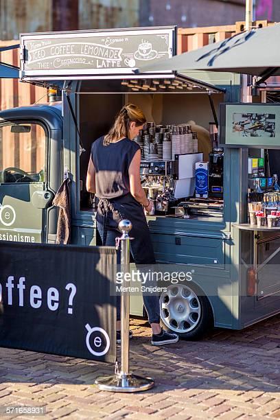 Coffee barista cart on food festival