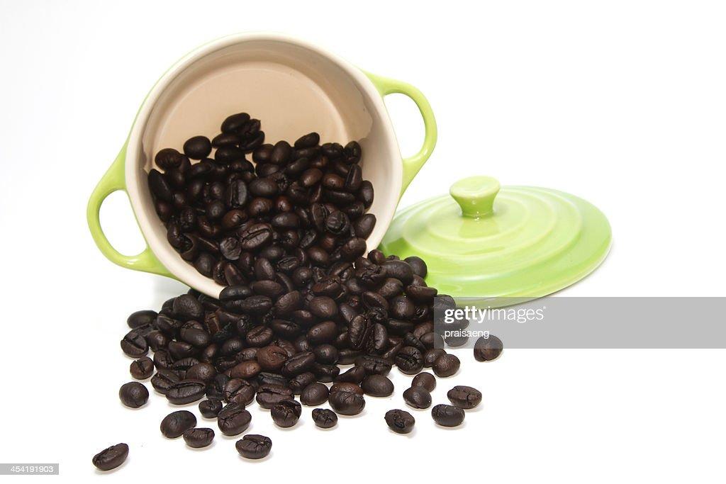 coffee bean in green pot : Stock Photo
