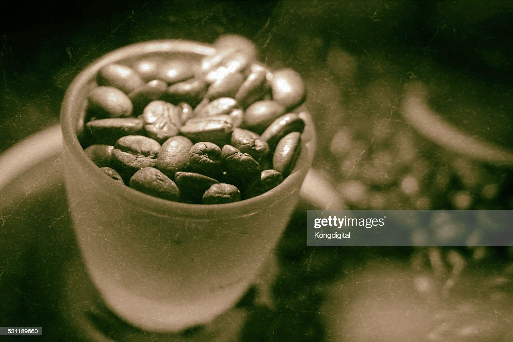 Coffee Beans And Coffe Cup Effects Style Vintage High Res
