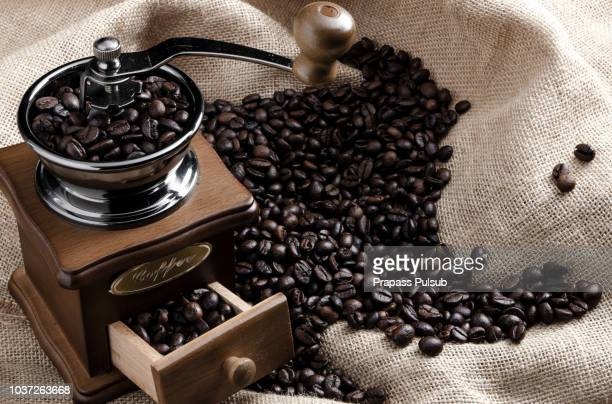Coffee beans and coffee cup