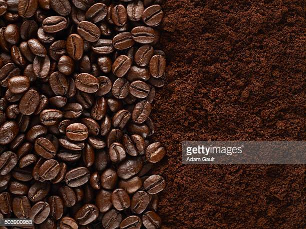 coffee beans and ground coffee - ground coffee stock photos and pictures