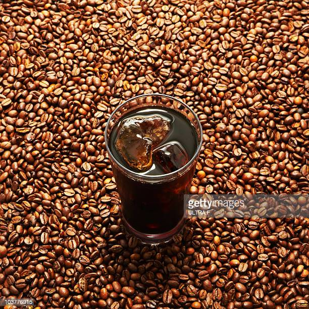 Coffee beans and iced coffee