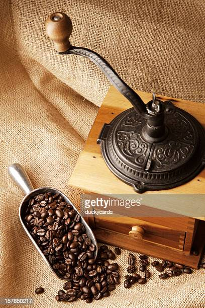 Coffee Beans and Old-Fashioned Grinder